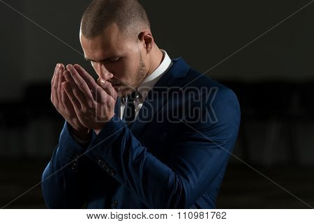Muslim Businessman Is Praying In The Mosque