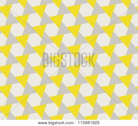 Vector Seamless Grey Yellow Geometric Triangle Shape Tessellation Pattern