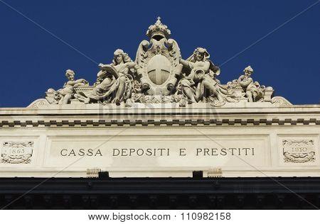 Roof Of The Italian Cassa Depositi E Prestiti In Rome