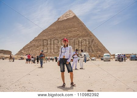 Happy Tourist In Egypt.