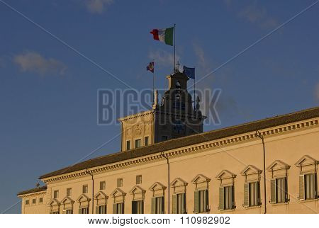 Architectural Close Up Of Quirinal Palace In Rome