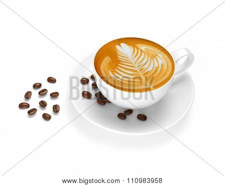 Cup of coffee latte and coffee beans
