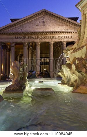 Fontana del Pantheon in Rome with the temple in the background