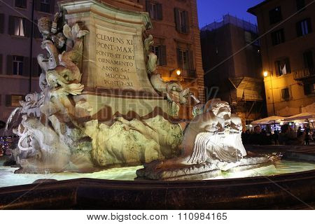 Fountain Of The Pantheon In Rome