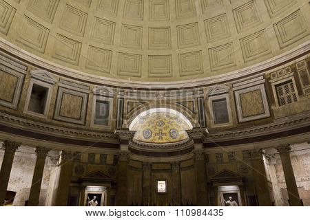Pantheon Interiors At Night In Rome