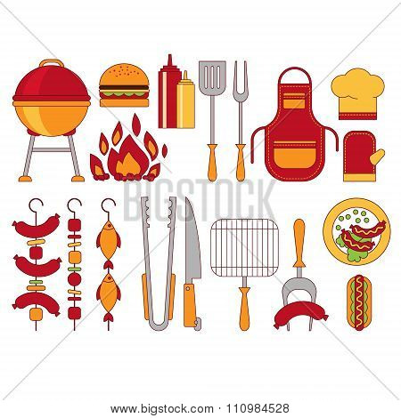 Barbecue Grill Icons Vector Illustratio