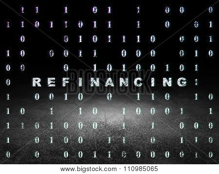 Business concept: Refinancing in grunge dark room