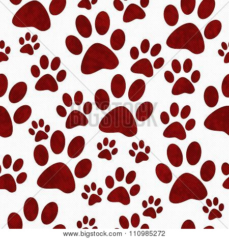 Red And White Dog Paw Prints Tile Pattern Repeat Background
