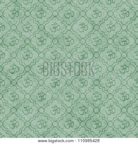 Green Aum Hindu Symbol Tile Pattern Repeat Background