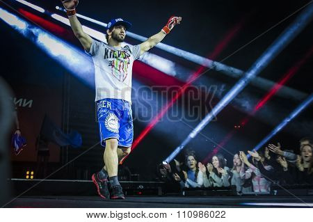 athlete mixed martial arts fighter during presentation before fight welcomes their fans