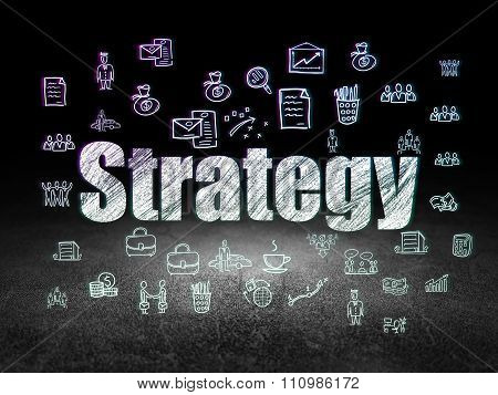 Business concept: Strategy in grunge dark room