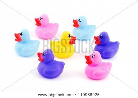 Group of rubber ducklings with one going to opposite direction - concept of individuality