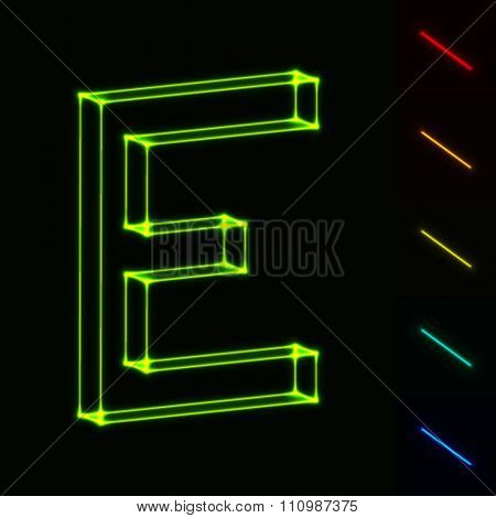 EPS10 vector glowing wireframe letter E - easy to change color