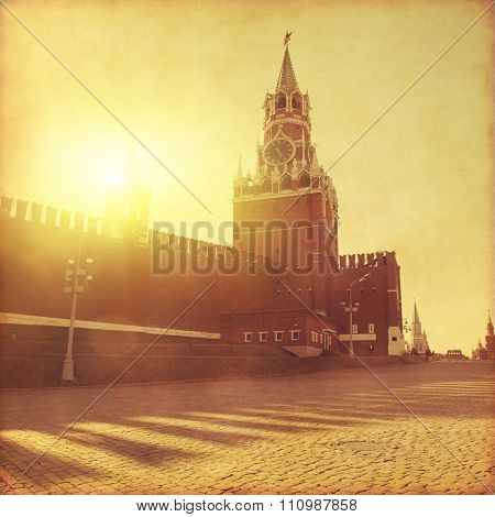 Spasskaya tower of Kremlin on the Red Square in Moscow.Old style photo.