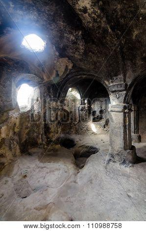 Uplistsikhe cave complex hall in Georgia