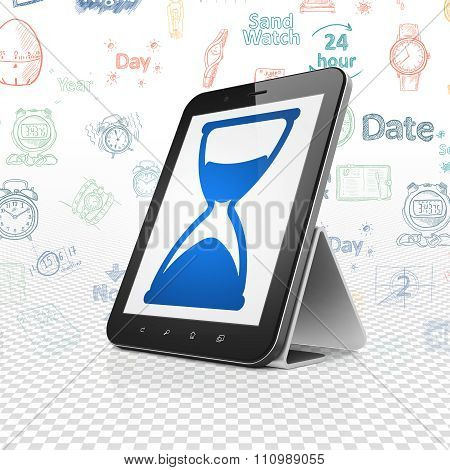 Time concept: Tablet Computer with Hourglass on display