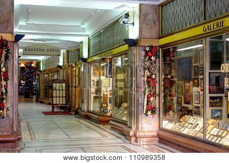 Arcade With Christmas Decorations In Prague