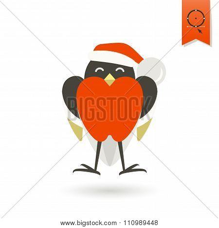 Funny Bird Bullfinch in Christmas Cap