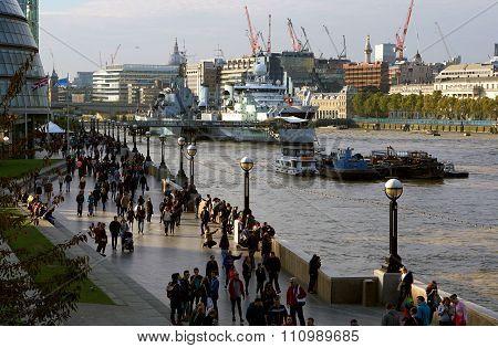 South Bank Riverside Scene, Southwark, London