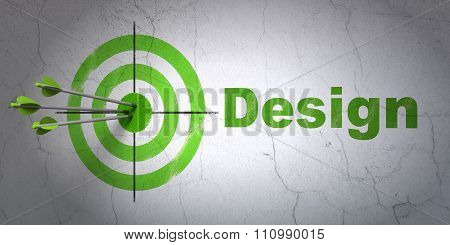 Marketing concept: target and Design on wall background