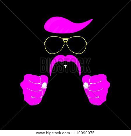 Face With Mustache Pink Vector