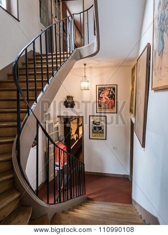 Curving Stairway Inside The Musee De Montmartre, Paris