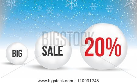 20  Percent, Sale Background With Snowballs And Snow. Sale. Winter Sale. Christmas Sale. New Year Sa
