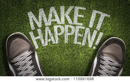 Top View of Sneakers on the grass with the text: Make it Happen!