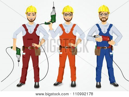 set of hipster handymen holding drills