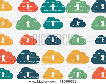 Cloud networking concept: Cloud With Keyhole icons on wall background