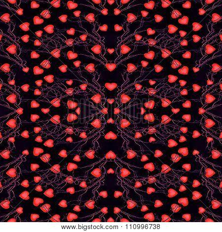 Hearts Motif Modern Seamless Pattern