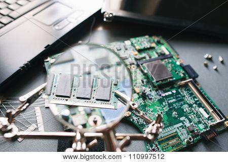 Computer Ram (memory) Through A Magnifying Glass.