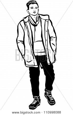 Sketch Of A Young Man In A Jacket And A Scarf