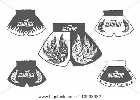 Thai boxing shorts set.Boxing illustration.
