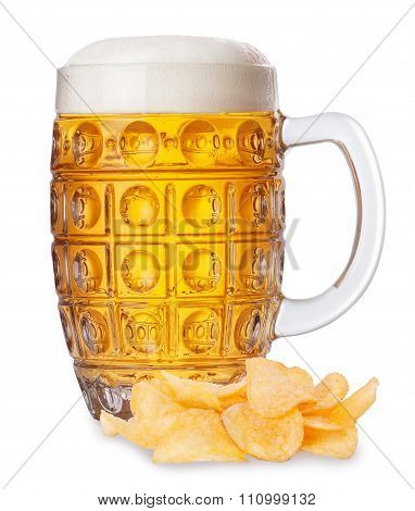 Mug Of Beer With Foam And Pile Of Potato Chips Isolate