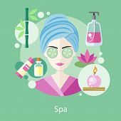Постер, плакат: Spa Salon Concept Flat Style Design