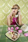 picture of hysterics  - retro housewife telephone woman vintage hysterical surprised gesture - JPG