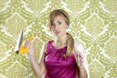 stock photo of hysterics  - Hysterical retro woman vintage iron wallpaper funny humor expression - JPG