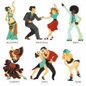 Popular Native Dance Flat Icons Set poster