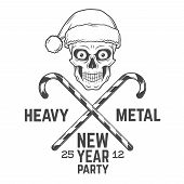 ������, ������: Crazy Santa Claus biker with candy cones logo insignia design Vintage Heavy metal party Christmas l