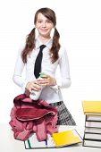 picture of teen pony tail  - Happy teen Girl with bottle of yogurt in school and backpack - JPG