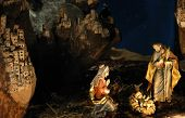 image of nativity scene  - night shot of a nativity scene with shallow depth of field - JPG