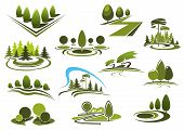 Green park, garden and forest landscape icons poster