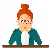 A disappointed young woman sitting at the table and clutching her head vector flat design illustrati poster