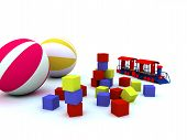 stock photo of bounce house  - blocks balls and locomotive are child - JPG
