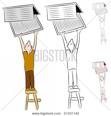 An image of a man changing his home heating and cooling conditioner system air filter.