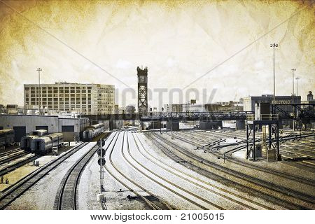 Vintage Design - Railroad In Big City