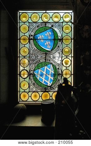 Stain Glass Window In Cochem Castle In Germany