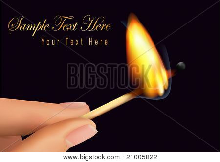 Human hand holding a burning match on a black background. Vector illustration.