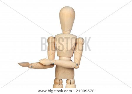 Jointed Wooden Mannequin With Outstretched Hand
